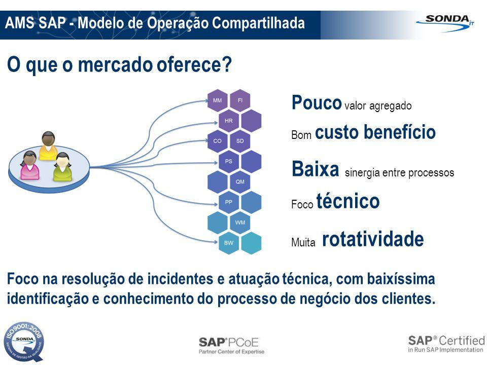 AMS SAP - Modelo de Operação Compartilhada Pouco valor agregado Bom custo benefício Baixa sinergia entre processos Foco técnico Muita rotatividade O q