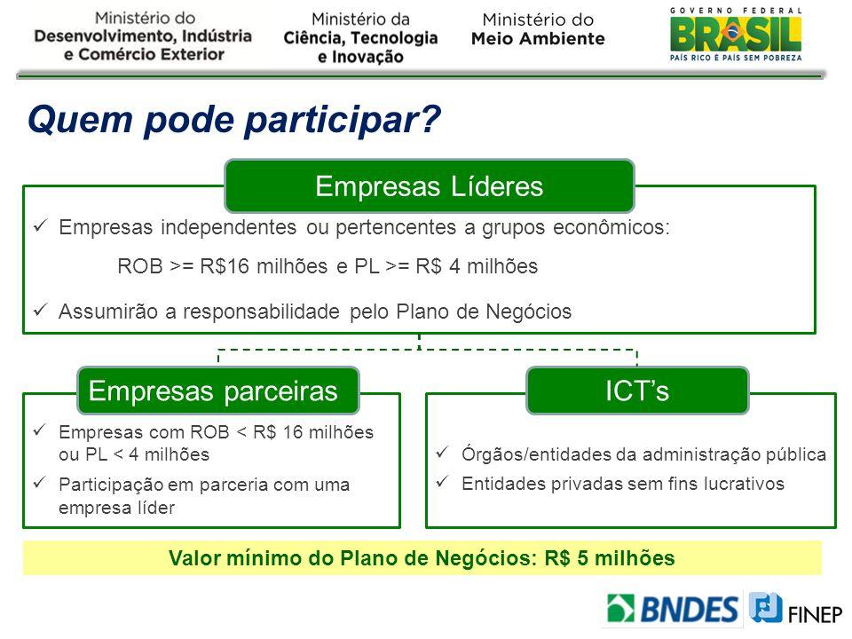 Empresas independentes ou pertencentes a grupos econômicos: ROB >= R$16 milhões e PL >= R$ 4 milhões Assumirão a responsabilidade pelo Plano de Negóci