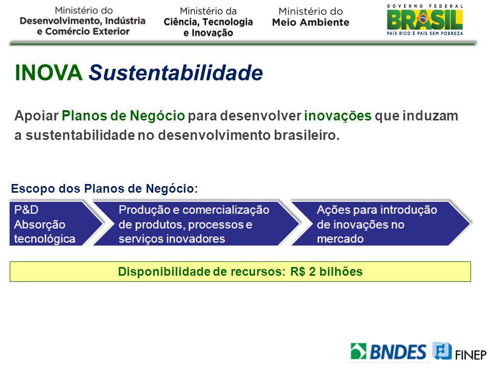 INOVA Sustentabilidade Apoiar Planos de Negócio para desenvolver inovações que induzam a sustentabilidade no desenvolvimento brasileiro. Escopo dos Pl