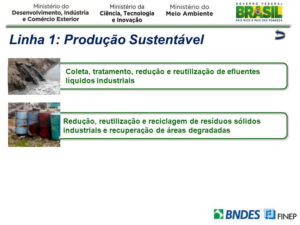 Linha 1: Produção Sustentável Coleta, tratamento, redução e reutilização de efluentes líquidos industriais Redução, reutilização e reciclagem de resíd