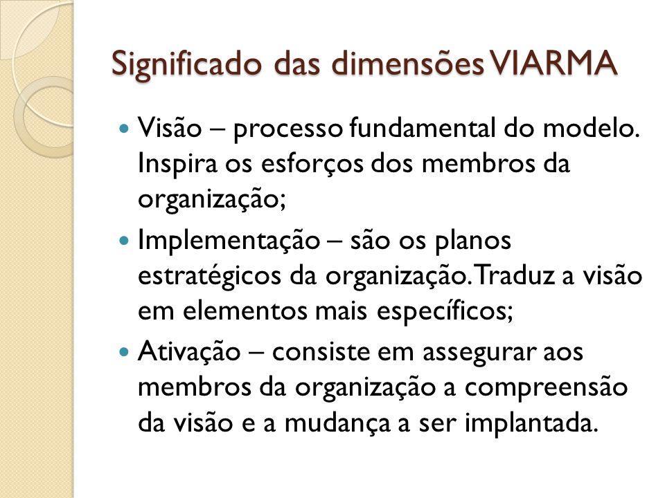 Significado das dimensões VIARMA Visão – processo fundamental do modelo.