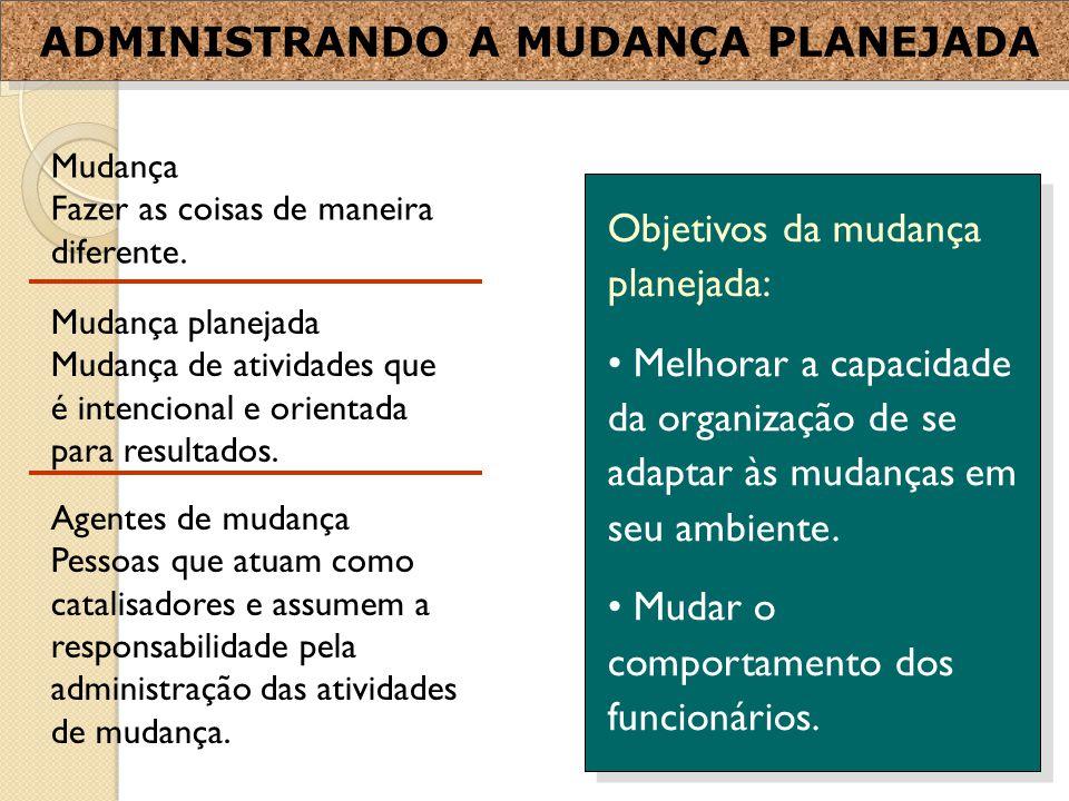 Objetivos da mudança planejada: Melhorar a capacidade da organização de se adaptar às mudanças em seu ambiente.