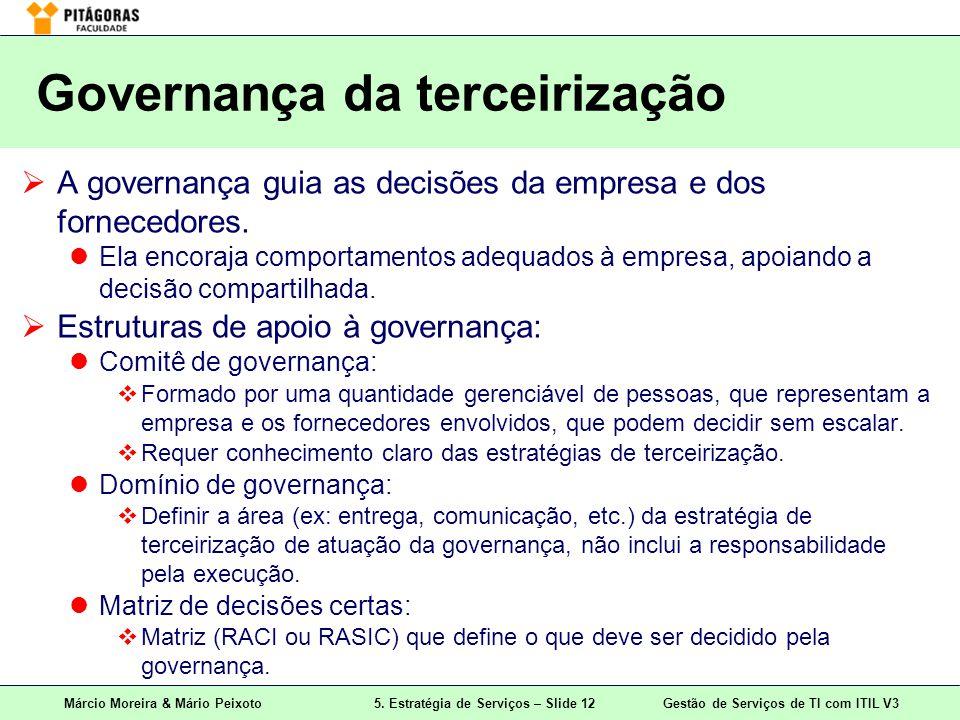 Márcio Moreira & Mário Peixoto5. Estratégia de Serviços – Slide 12 Gestão de Serviços de TI com ITIL V3 Governança da terceirização A governança guia