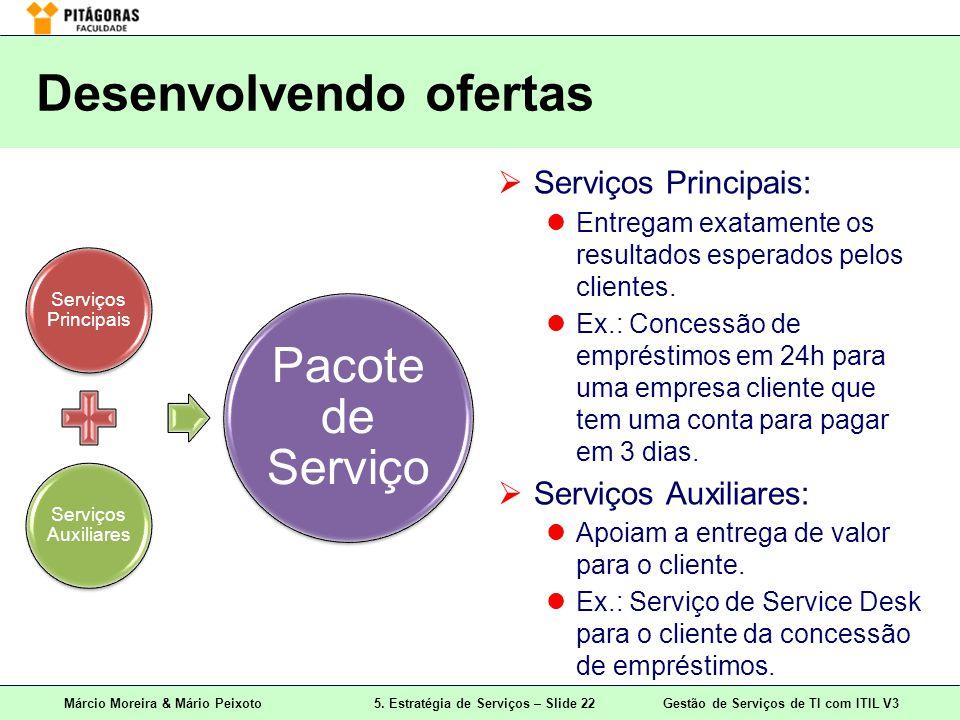 Márcio Moreira & Mário Peixoto5. Estratégia de Serviços – Slide 22 Gestão de Serviços de TI com ITIL V3 Desenvolvendo ofertas Serviços Principais Serv