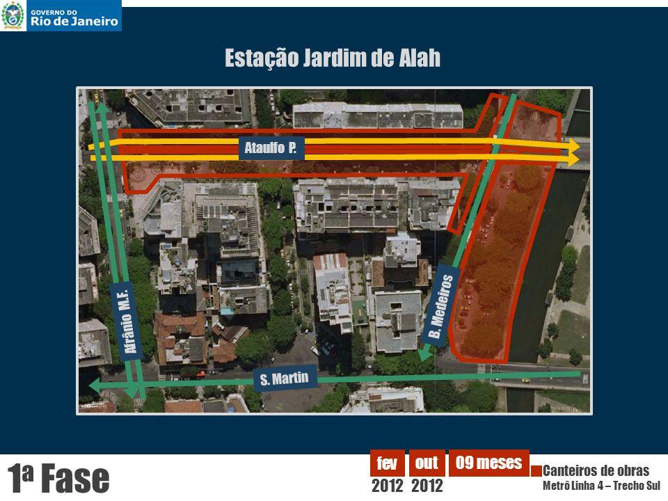 Estação Jardim de Alah Ataulfo P. B. Medeiros 2012 fev Canteiros de obras Metrô Linha 4 – Trecho Sul out 2012 09 meses 1 a Fase Afrânio M.F. S. Martin