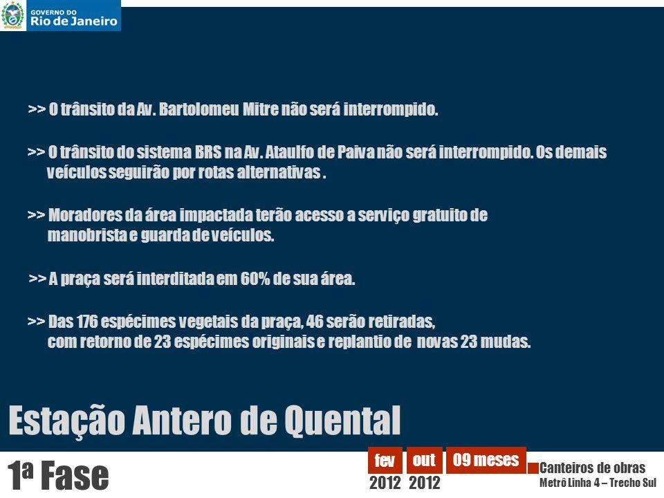 Estação Antero de Quental 2012 fev Canteiros de obras Metrô Linha 4 – Trecho Sul out 2012 09 meses 1 a Fase >> Moradores da área impactada terão acess