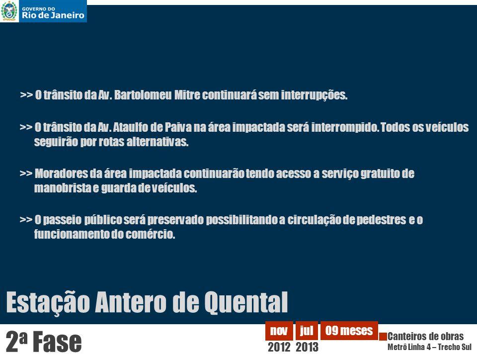 2012 nov Canteiros de obras Metrô Linha 4 – Trecho Sul jul 2013 09 meses 2 a Fase >> O trânsito da Av.