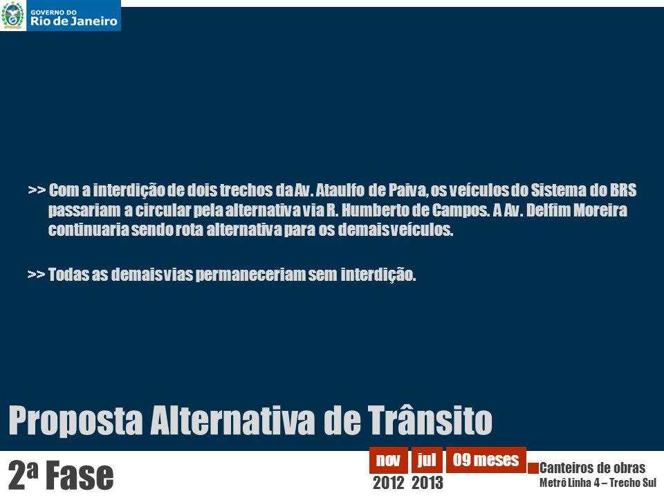 >> Com a interdição de dois trechos da Av. Ataulfo de Paiva, os veículos do Sistema do BRS passariam a circular pela alternativa via R. Humberto de Ca