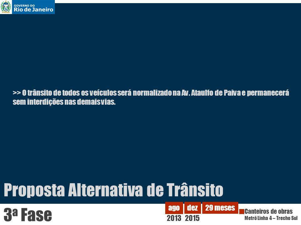 >> O trânsito de todos os veículos será normalizado na Av. Ataulfo de Paiva e permanecerá sem interdições nas demais vias. 2013 ago Canteiros de obras