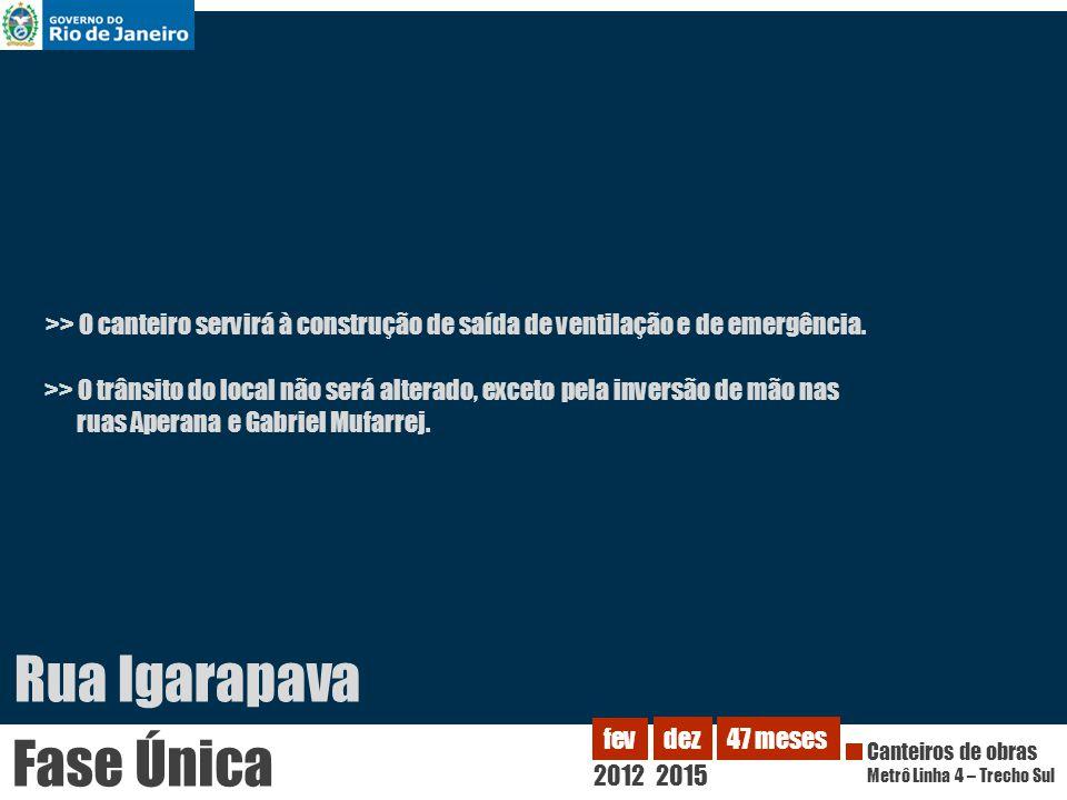 Rua Igarapava >> O trânsito do local não será alterado, exceto pela inversão de mão nas ruas Aperana e Gabriel Mufarrej. >> O canteiro servirá à const