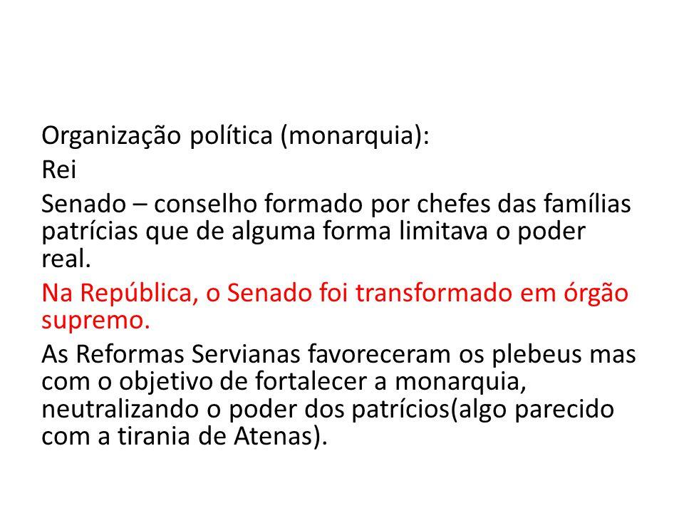 Organização política (monarquia): Rei Senado – conselho formado por chefes das famílias patrícias que de alguma forma limitava o poder real. Na Repúbl