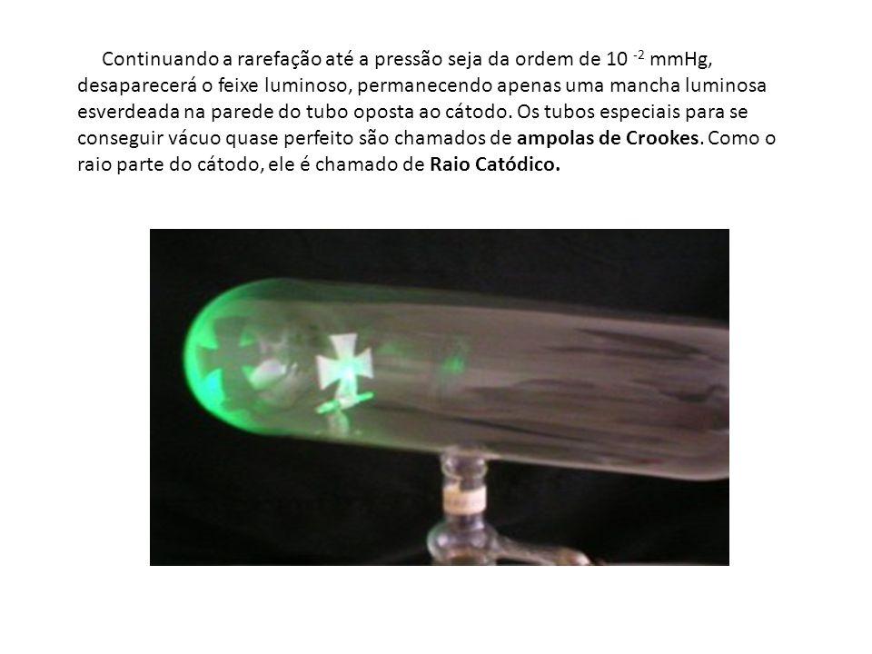 Continuando a rarefação até a pressão seja da ordem de 10 -2 mmHg, desaparecerá o feixe luminoso, permanecendo apenas uma mancha luminosa esverdeada n