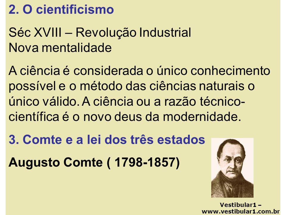 2. O cientificismo Séc XVIII – Revolução Industrial Nova mentalidade A ciência é considerada o único conhecimento possível e o método das ciências nat