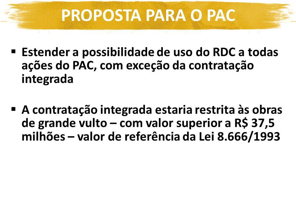Estender a possibilidade de uso do RDC a todas ações do PAC, com exceção da contratação integrada A contratação integrada estaria restrita às obras de grande vulto – com valor superior a R$ 37,5 milhões – valor de referência da Lei 8.666/1993 PROPOSTA PARA O PAC