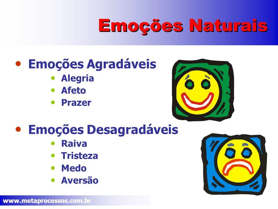 www.metaprocessos.com.br Emoções e São sinais de alarme informando a necessidade de aprender, compreender ou aceitar uma experiência.