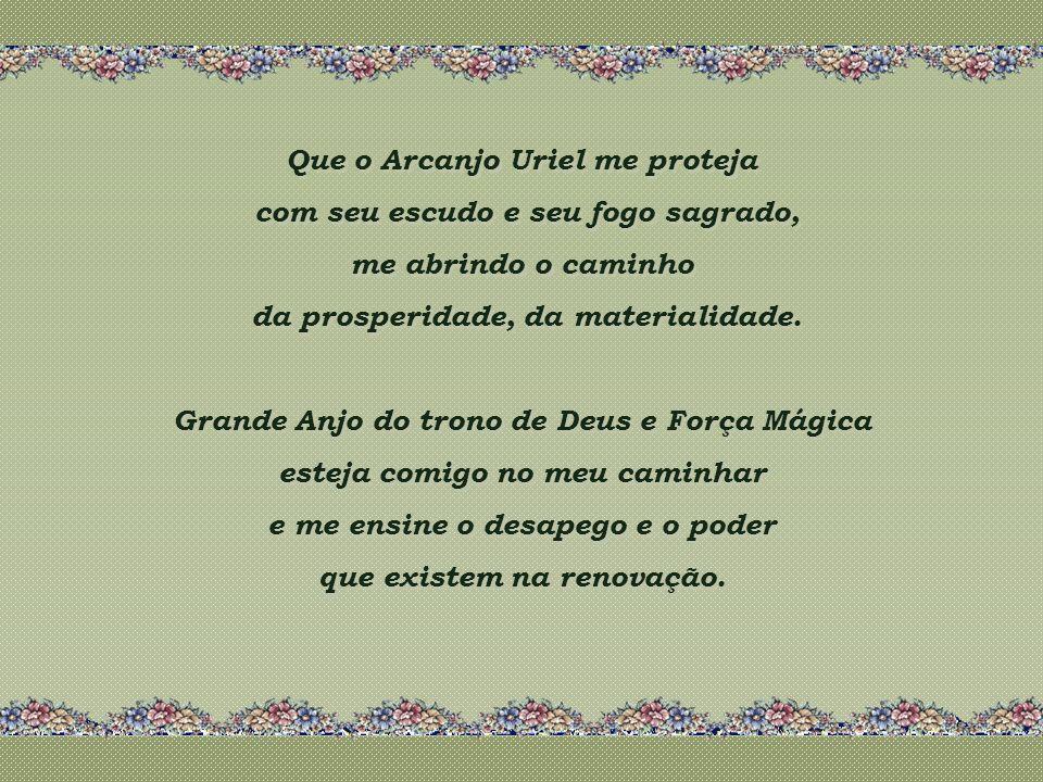 Que o Arcanjo Uriel me proteja com seu escudo e seu fogo sagrado, me abrindo o caminho da prosperidade, da materialidade.
