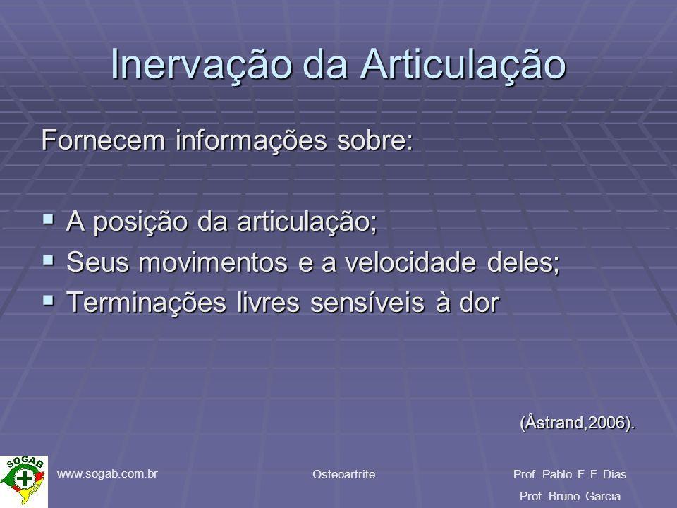 www.sogab.com.br OsteoartriteProf. Pablo F. F. Dias Prof. Bruno Garcia Inervação da Articulação Fornecem informações sobre: A posição da articulação;