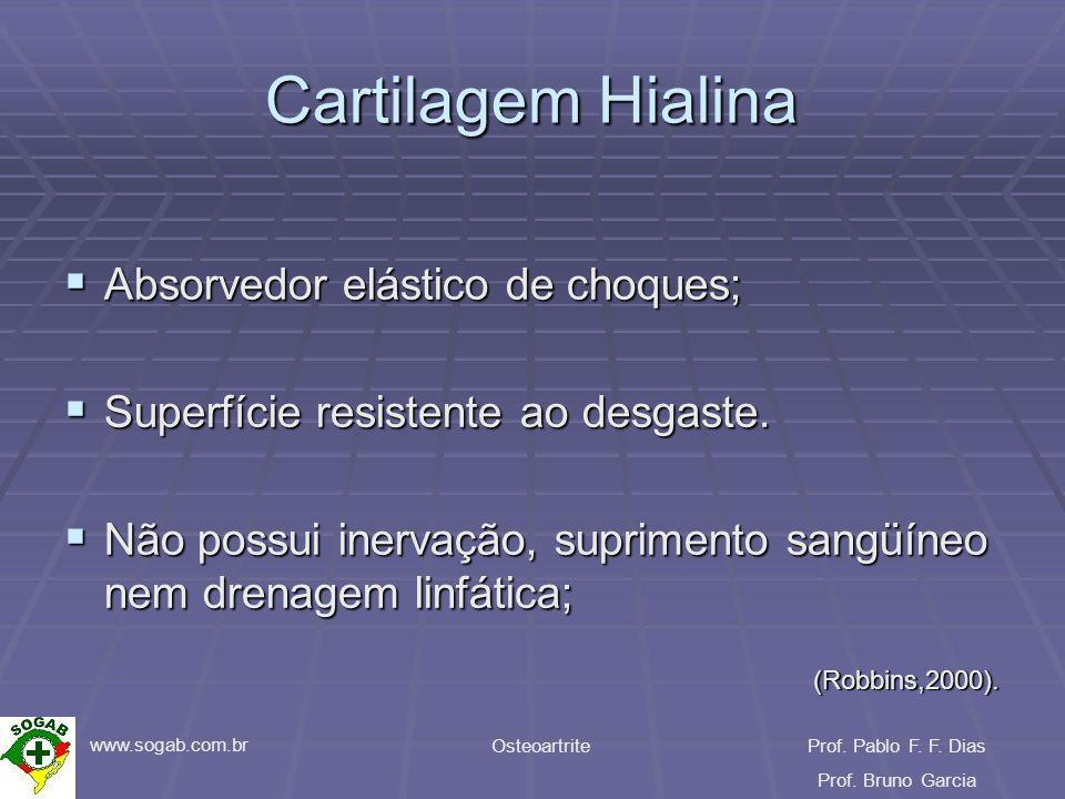 www.sogab.com.br OsteoartriteProf. Pablo F. F. Dias Prof. Bruno Garcia Cartilagem Hialina Absorvedor elástico de choques; Absorvedor elástico de choqu