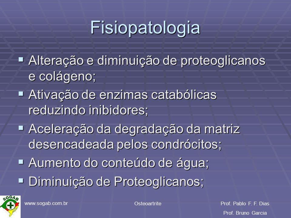 www.sogab.com.br OsteoartriteProf. Pablo F. F. Dias Prof. Bruno Garcia Fisiopatologia Alteração e diminuição de proteoglicanos e colágeno; Alteração e