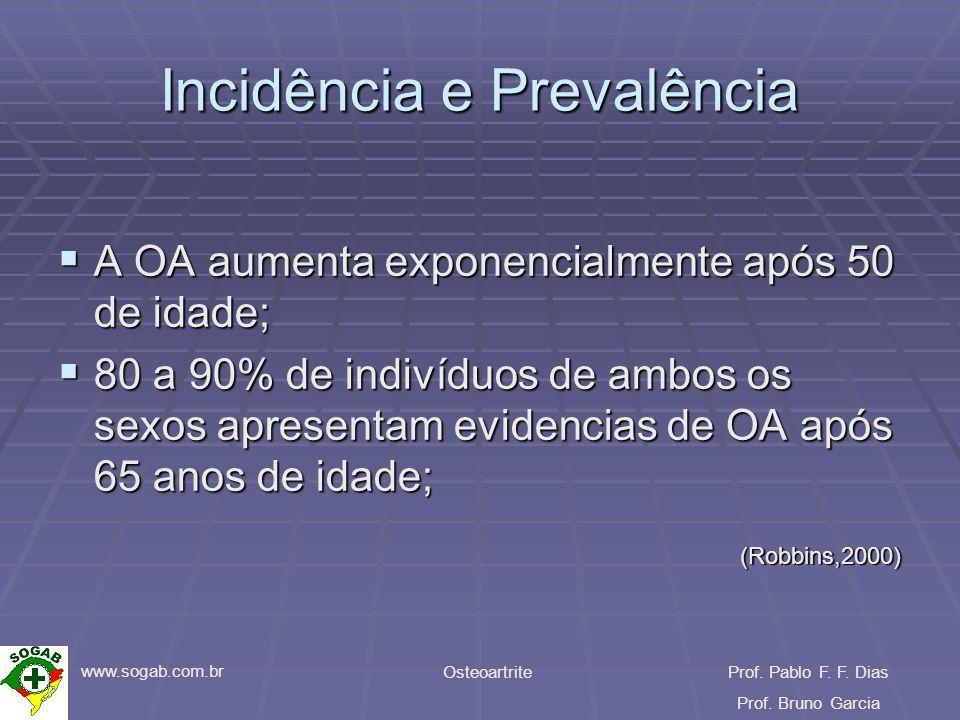 www.sogab.com.br OsteoartriteProf. Pablo F. F. Dias Prof. Bruno Garcia Incidência e Prevalência A OA aumenta exponencialmente após 50 de idade; A OA a