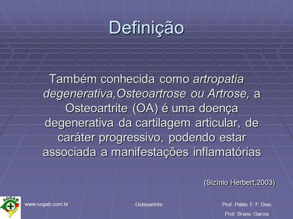 www.sogab.com.br OsteoartriteProf. Pablo F. F. Dias Prof. Bruno Garcia Definição Também conhecida como artropatia degenerativa,Osteoartrose ou Artrose