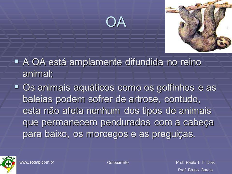 www.sogab.com.br OsteoartriteProf. Pablo F. F. Dias Prof. Bruno Garcia OA A OA está amplamente difundida no reino animal; A OA está amplamente difundi