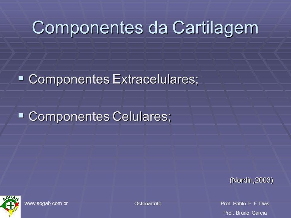 www.sogab.com.br OsteoartriteProf. Pablo F. F. Dias Prof. Bruno Garcia Componentes da Cartilagem Componentes Extracelulares; Componentes Extracelulare