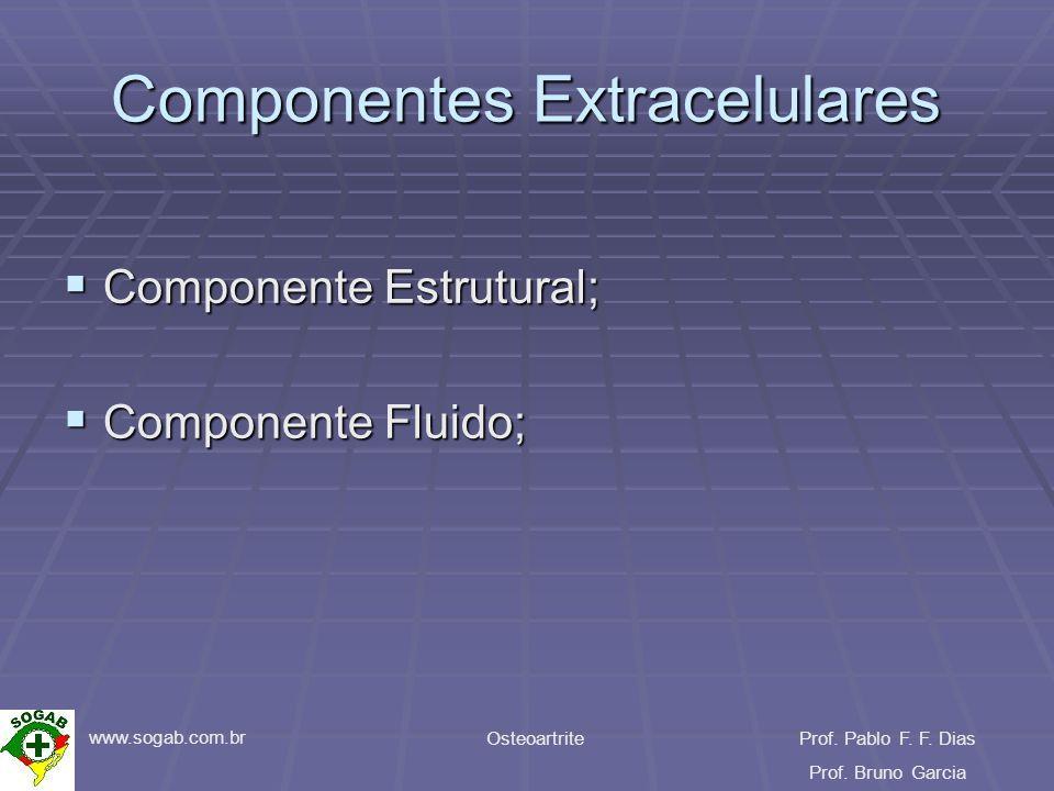 www.sogab.com.br OsteoartriteProf. Pablo F. F. Dias Prof. Bruno Garcia Componentes Extracelulares Componente Estrutural; Componente Estrutural; Compon