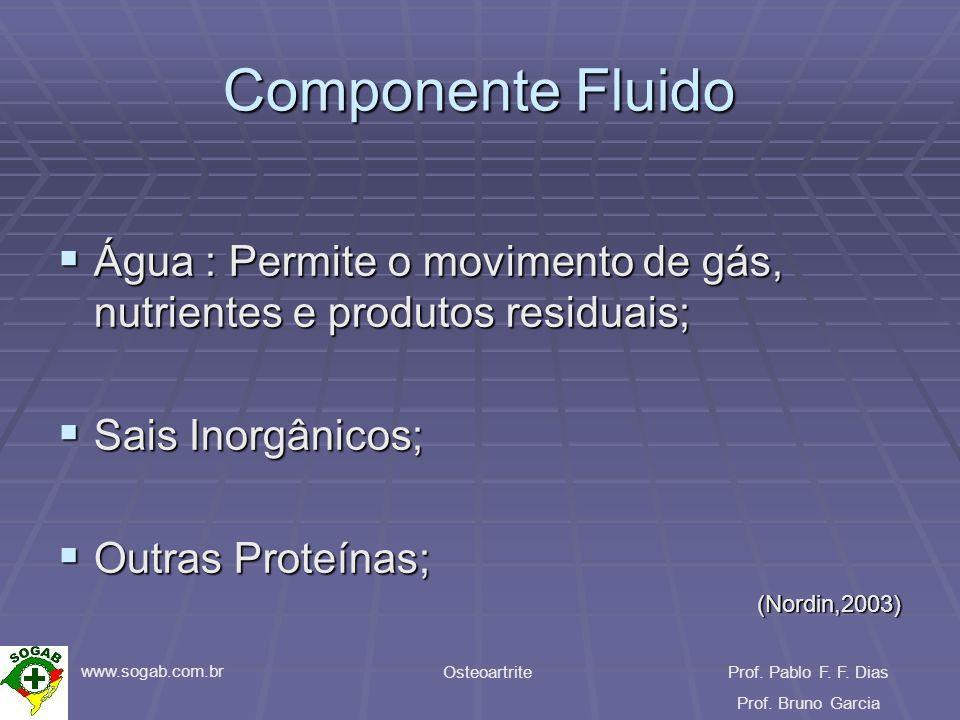www.sogab.com.br OsteoartriteProf. Pablo F. F. Dias Prof. Bruno Garcia Componente Fluido Água : Permite o movimento de gás, nutrientes e produtos resi