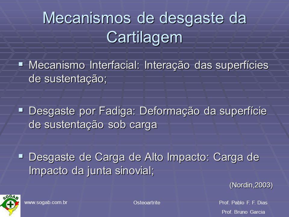 www.sogab.com.br OsteoartriteProf. Pablo F. F. Dias Prof. Bruno Garcia Mecanismos de desgaste da Cartilagem Mecanismo Interfacial: Interação das super