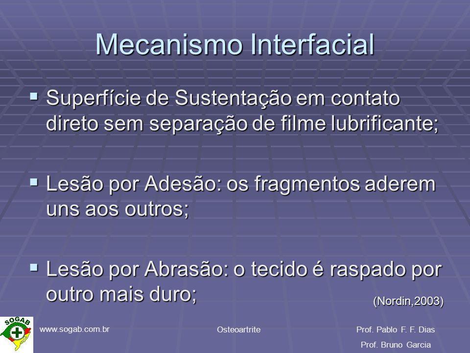 www.sogab.com.br OsteoartriteProf. Pablo F. F. Dias Prof. Bruno Garcia Mecanismo Interfacial Superfície de Sustentação em contato direto sem separação