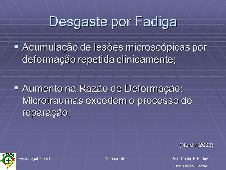 www.sogab.com.br OsteoartriteProf. Pablo F. F. Dias Prof. Bruno Garcia Desgaste por Fadiga Acumulação de lesões microscópicas por deformação repetida