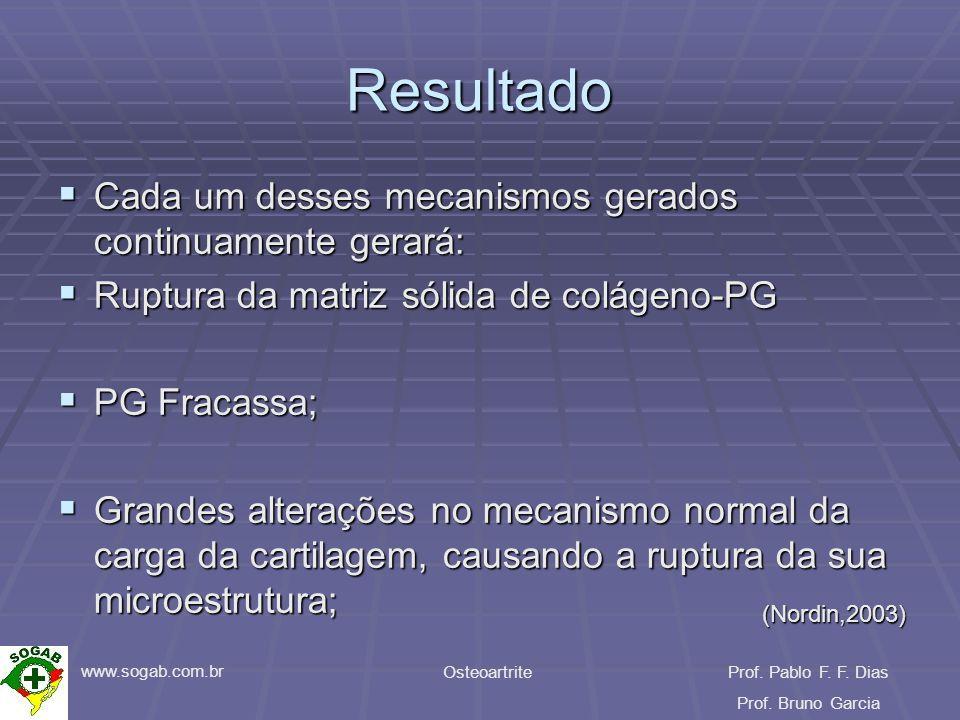 www.sogab.com.br OsteoartriteProf. Pablo F. F. Dias Prof. Bruno Garcia Resultado Cada um desses mecanismos gerados continuamente gerará: Cada um desse