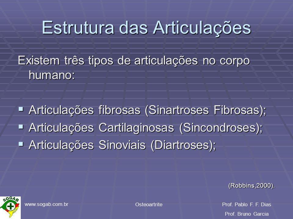www.sogab.com.br OsteoartriteProf. Pablo F. F. Dias Prof. Bruno Garcia Estrutura das Articulações Existem três tipos de articulações no corpo humano: