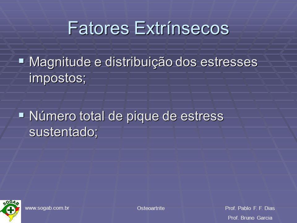 www.sogab.com.br OsteoartriteProf. Pablo F. F. Dias Prof. Bruno Garcia Fatores Extrínsecos Magnitude e distribuição dos estresses impostos; Magnitude