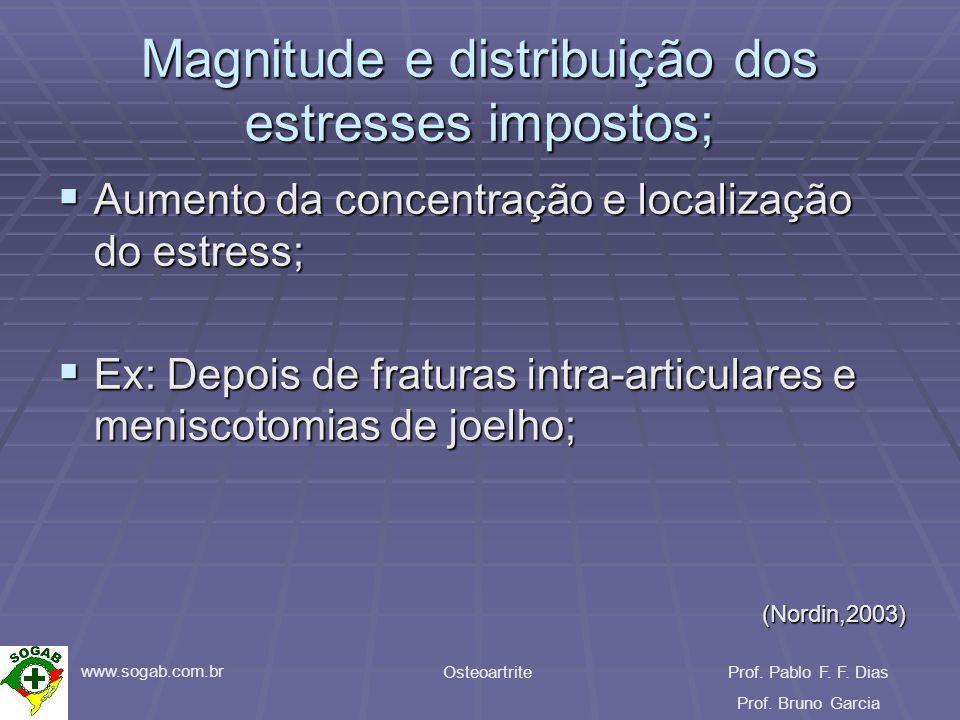 www.sogab.com.br OsteoartriteProf. Pablo F. F. Dias Prof. Bruno Garcia Magnitude e distribuição dos estresses impostos; Aumento da concentração e loca