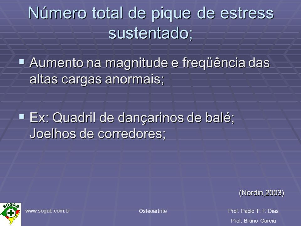 www.sogab.com.br OsteoartriteProf. Pablo F. F. Dias Prof. Bruno Garcia Número total de pique de estress sustentado; Aumento na magnitude e freqüência