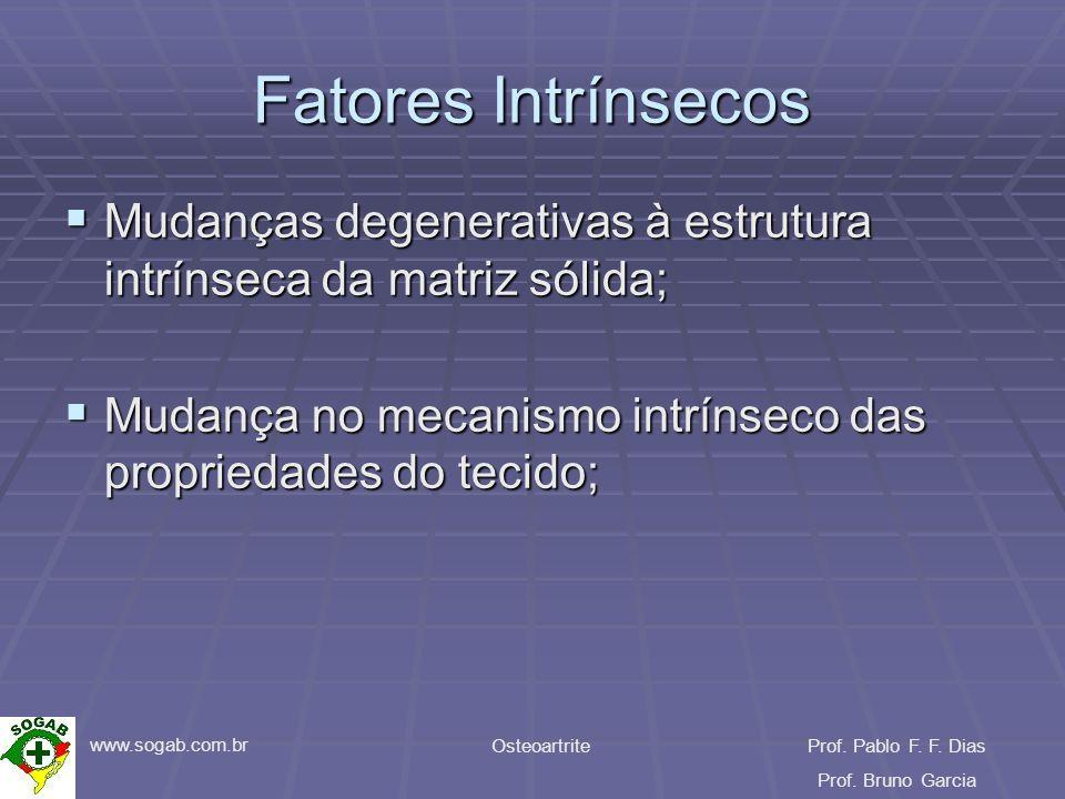 www.sogab.com.br OsteoartriteProf. Pablo F. F. Dias Prof. Bruno Garcia Fatores Intrínsecos Mudanças degenerativas à estrutura intrínseca da matriz sól