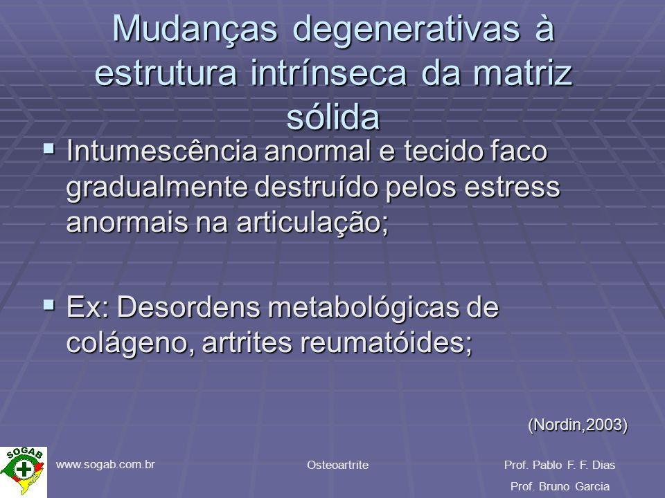 www.sogab.com.br OsteoartriteProf. Pablo F. F. Dias Prof. Bruno Garcia Mudanças degenerativas à estrutura intrínseca da matriz sólida Intumescência an