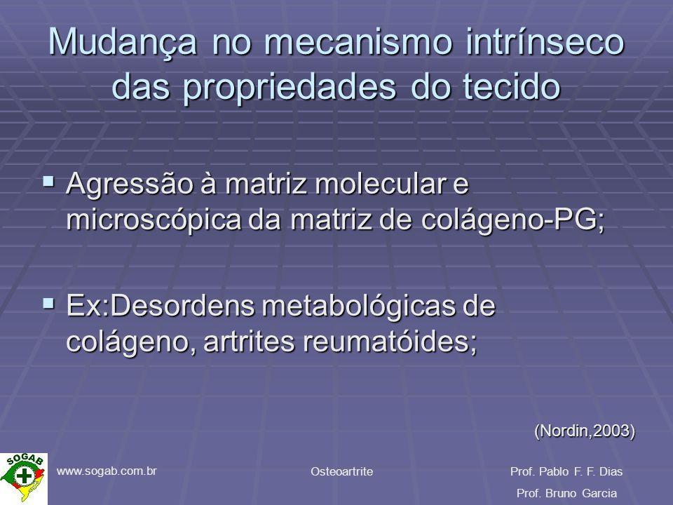www.sogab.com.br OsteoartriteProf. Pablo F. F. Dias Prof. Bruno Garcia Mudança no mecanismo intrínseco das propriedades do tecido Agressão à matriz mo