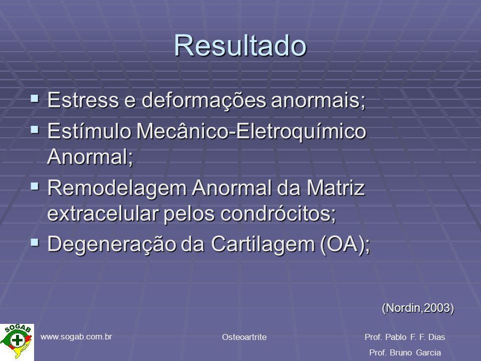 www.sogab.com.br OsteoartriteProf. Pablo F. F. Dias Prof. Bruno Garcia Resultado Estress e deformações anormais; Estress e deformações anormais; Estím