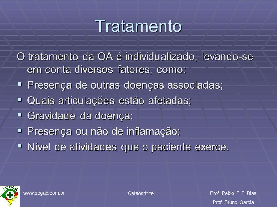 www.sogab.com.br OsteoartriteProf. Pablo F. F. Dias Prof. Bruno Garcia Tratamento O tratamento da OA é individualizado, levando-se em conta diversos f