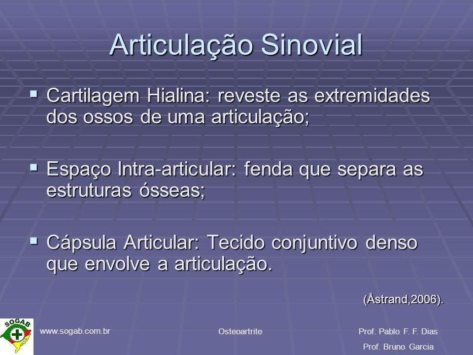 www.sogab.com.br OsteoartriteProf. Pablo F. F. Dias Prof. Bruno Garcia Articulação Sinovial Cartilagem Hialina: reveste as extremidades dos ossos de u