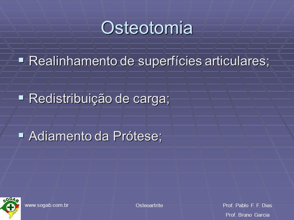 www.sogab.com.br OsteoartriteProf. Pablo F. F. Dias Prof. Bruno Garcia Osteotomia Realinhamento de superfícies articulares; Realinhamento de superfíci