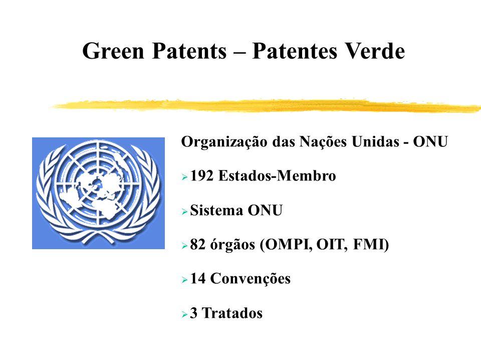 Green Patents – Patentes Verde Organização das Nações Unidas - ONU 192 Estados-Membro Sistema ONU 82 órgãos (OMPI, OIT, FMI) 14 Convenções 3 Tratados