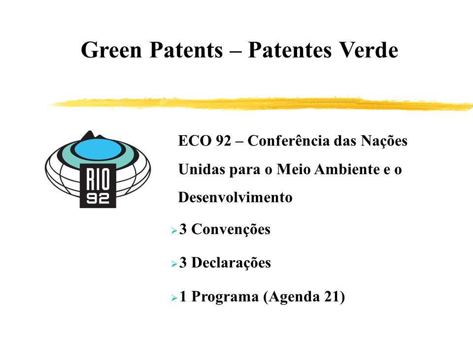 Green Patents – Patentes Verde ECO 92 – Conferência das Nações Unidas para o Meio Ambiente e o Desenvolvimento 3 Convenções 3 Declarações 1 Programa (