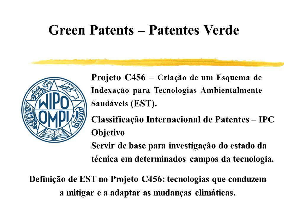 Green Patents – Patentes Verde Projeto C456 – Criação de um Esquema de Indexação para Tecnologias Ambientalmente Saudáveis (EST). Classificação Intern