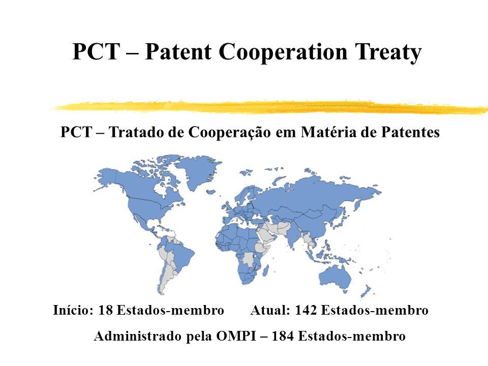 PCT – Patent Cooperation Treaty PCT – Tratado de Cooperação em Matéria de Patentes Início: 18 Estados-membro Atual: 142 Estados-membro Administrado pe