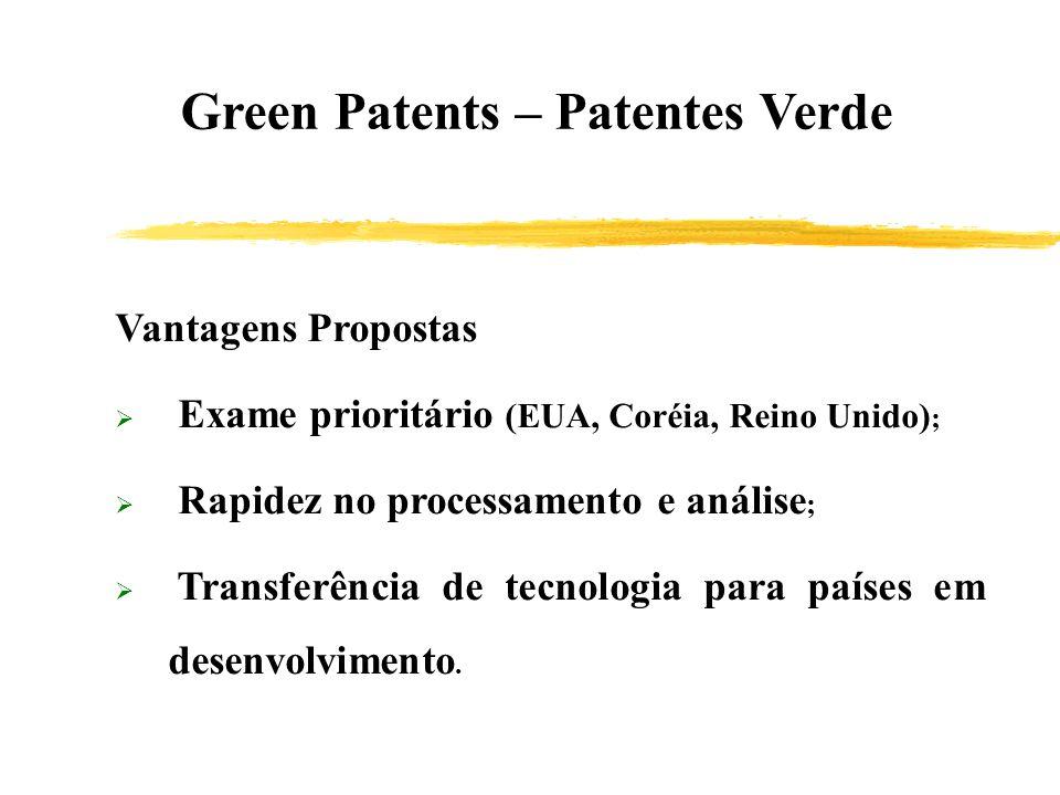 Green Patents – Patentes Verde Vantagens Propostas Exame prioritário (EUA, Coréia, Reino Unido) ; Rapidez no processamento e análise ; Transferência d
