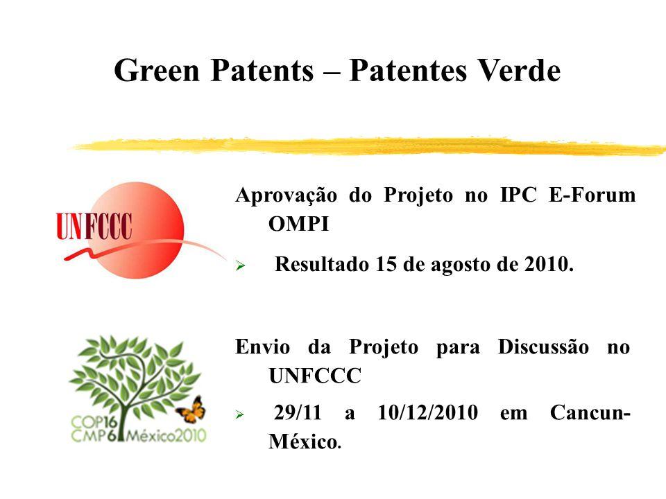 Green Patents – Patentes Verde Aprovação do Projeto no IPC E-Forum OMPI Resultado 15 de agosto de 2010. Envio da Projeto para Discussão no UNFCCC 29/1